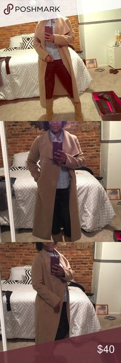 Full length coat Soft tan belted trench coat New with tags Size says One Size (I say it's a small) I wear M coats and I can't close this coat over I could wear it open but I want to be able to tie the belt closed Jackets & Coats Trench Coats