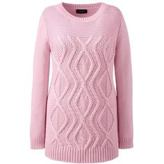Lands' End Women's Plus Size Cotton Cable Tunic Sweater - Drifter (90 AUD) ❤ liked on Polyvore featuring plus size women's fashion, plus size clothing, plus size tops, plus size sweaters, pink, chunky sweater, cotton cable sweater, chunky cable knit sweater, cotton sweaters and chunky cable sweater