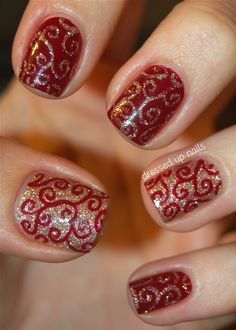 Hi everyone! Today I have some sparkly holiday swirly nails to show you guys. I did these at the beginning of last week and planned to post them today and I was tickled to see that Alice from One Nail to Rule Them All posted some similar swirly nails yesterday! I love the addition of the dots on hers, I wish I had thought of that :) I love both of these colors so of course I love them even more together. Hope y'all like them too! The blog post has more pictures and stuff as usual… ch-check…