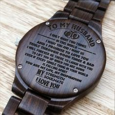 Husband Watch - Perfect Gifts For Husband - Engraved Wooden Watch - Men's Watch - Husband Watch – Perfect Gifts For Husband – by HeavenKP on Zibbet - Bday Gifts For Him, Gifts For Fiance, Birthday Gifts, Perfect Gift For Boyfriend, Diy Gifts For Boyfriend, Parent Gifts, Gifts For Family, Frases Bts, Romantic Gifts For Him