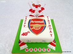 Arsenal logo birthday cake with sugar scarf ribbon and Arsenal wired football shirts cake topper Football Themed Cakes, Soccer Cakes, Cake Models, Shirt Cake, 50th Birthday, Birthday Cakes, Cake Logo, Novelty Cakes, Cake Decorating