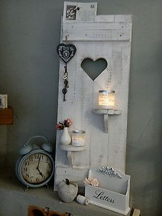 Decorative objects - Shabby DEKO shutter heart shelves wood old white - a design . - Decoration – Shabby DEKO shutter heart shelves wood old white – a unique product by shabby-home - Shabby Home, Shabby Chic Homes, Heart Shelf, Decoration Hall, Shabby Chic Hearts, Ideias Diy, Old Doors, Shabby Vintage, Wooden Crafts