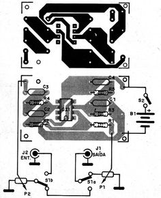 Figura 4 – Placa para a montagem Electronic Circuit Projects, Electronics Projects, Diy Guitar Amp, Pedal, Arduino, Musicals, Cafe Racers, Computers, Tech