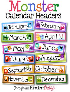 FREE monster headers for a classroom calendar. Love these!
