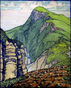 ✨ Frances Hammell Gearhart (1869-1958) - South Mountain, Colour Woodcut