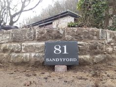 Bold number and finished with grey exterior gloss. A very good combination Grey Exterior, Home Signs, Stone Art, Slate, It Is Finished, Number, Outdoor Decor, House, Design