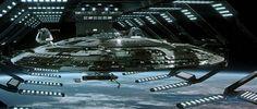 Sovereign-class USS Enterprise E in dry dock from Star Trek: Nemesis Film Star Trek, Star Trek V, Star Trek Movies, Star Trek Ships, Star Trek Insurrection, Star Trek Generations, Uss Enterprise Ncc 1701, Starfleet Ships, Starship Troopers