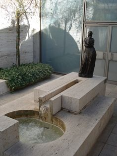 Aesthete Label love - Located: Fort Worth, Texas Architect: Louis I. Louis Kahn, Art Et Architecture, Architecture Details, Pool Landscape Design, Garden Design, Drinking Fountain, Carlo Scarpa, Brutalist, Water Features