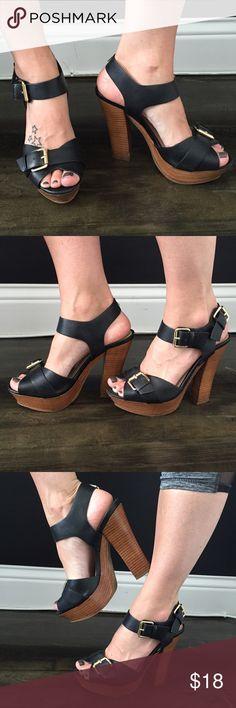 ALDO chunky platform sandals with wooden heel Strappy black ALDO sandals with chunky wooden heel.  Gold buckles.  Comfortable. Aldo Shoes Heels