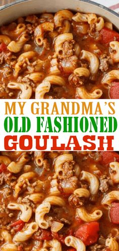 wonderful This simple quaint goulash recipe is so EASY to make and can remind you of the goulash or Johnny Marzetti that your grandma used to make! Supply : GRANDMA'S OLD FASHIONED GOULASH by… Grandma's Goulash Recipe, Easy Goulash Recipes, Crockpot Recipes, Cooking Recipes, Easy Cooking, Beef Dishes, Pasta Dishes, Food Dishes, Main Dishes