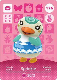 Sprinkle (フラッペ, Furappe) is a peppy penguin villager who first appeared in New Leaf. Her name refers to a popular topping on cold confectioneries, such as ice creams, known as sprinkles. Her Japanese name and initial catchphrase comes from Frappé coffee. Sprinkle is a light blue penguin. She has small eyes, with a small sparkle and one eyelash in each eye. She has a blue and white swirl on her head and yellow cheeks. She has yellow flippers. Her initial clothes is the icy shirt. Peppy...