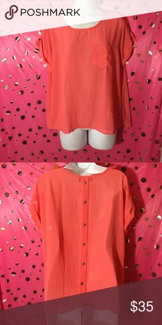 XL Make me an Offer Polka Dot Ladies Blouse Front left pocket on top  Button down style at the back (the button doesn't open) Fold sleeve  100% polyester  Machine washable  New Sarah Candy Tops Blouses
