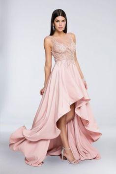 Beaded Illusion High-Low Crepe Dress 1712P2465