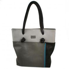 "Lederhandtasche / Leather hand bag ""Aequitly the Shopper grey patch"""