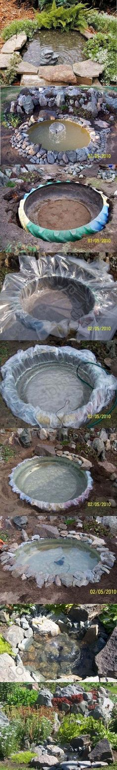 Inexpensive Rock Lined Tire Pond