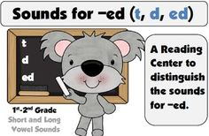 FREEBIE! This reading center has students sorting the sound of -ed into 3 categories; t - d - ed sound. There are 3 sets of words used with this center; short vowel sounds, long vowel sounds, and a mixed of short and long sounds.