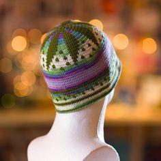 Crochet skullcap hat beany mixed shades of forest от SandrasMagic