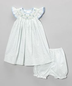 Look at this #zulilyfind! Blue Smocked Dress & Bloomers - Infant & Toddler by Petit Pomme #zulilyfinds