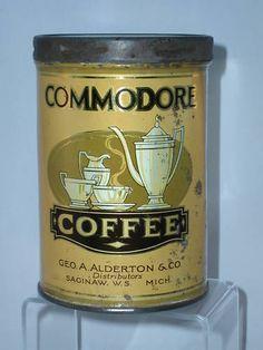 RARE Commodore Coffee Tin Vintage Advertising 712 P | eBay