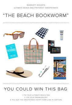 Enter the Marriott Resorts Ultimate Beach Bag Pinterest #Sweepstakes for your chance to  win the Beach Bookworm beach bag prize package or a trip to paradise!