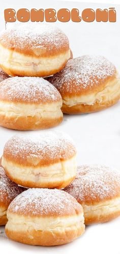 Bomboloni No Bake Desserts, Just Desserts, Delicious Desserts, Dessert Recipes, Yummy Food, Donut Recipes, Cooking Recipes, Homemade Donuts, Beignets