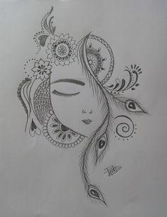 Art Drawings Sketches Simple, Girl Drawing Sketches, Dark Art Drawings, Girly Drawings, Art Drawings Beautiful, Pencil Art Drawings, Art Inspiration Drawing, Drawing Ideas, Indian Art Paintings