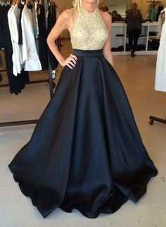 Open Back Long Navy Prom Dress with Beaded