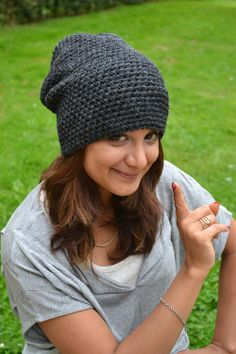 Long slouchy crochet beanie in Antracit for man or by Fischerka, $20.00