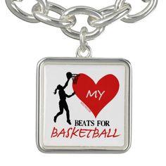 Golly Girls - My Heart Beats for Basketball Charm Bracelet