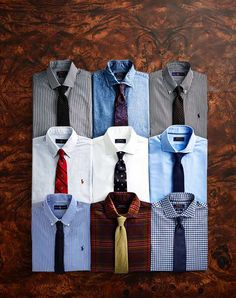 Shirts & ties in various color combinations. Colour Combinations Fashion, Shirt And Tie Combinations, Color Combinations For Clothes, Business Casual Attire For Men, Mens Shirt And Tie, Shirt Tie Combo, Designer Suits For Men, Dapper Men, Men Style Tips