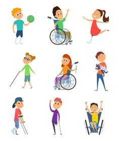 Wheelchair for kids. Children with disability. Vector characters in cartoon style. Disabled child in wheelchair, character handicapped kids illustration People Illustration, Children's Book Illustration, Disability Art, Cute Cartoon Girl, Disabled People, Medical Art, Graphic Design Posters, Painting For Kids, Cartoon Styles