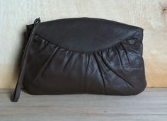 Vintage 1980s Toni Dark Brown Rouched Leather Clutch Wristlet Handbag Purse by ForestaVintage on Etsy