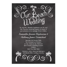 Custom Chalkboard Turquoise Palm Tree Beach Wedding Invite created by CustomInvites. This invitation design is available on many paper types and is completely custom printed. Made in 24 hours. Chalkboard Wedding Invitations, Wedding Invitation Design, Custom Invitations, Invites, Beach Invitations, Chalkboard Signs, Aqua Wedding, Nautical Wedding, Rustic Wedding