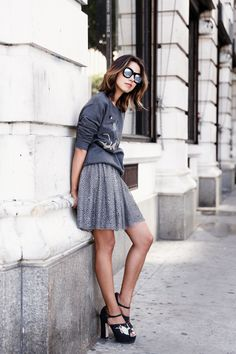 Going Gray REDValentino top & skirt