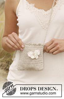 "DROPS 129-4 - Crochet DROPS bag in ""Lin"" with butterfly in ""Muskat"". - Free pattern by DROPS Design"