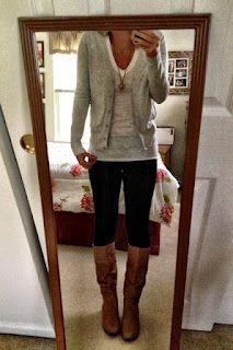 sweater, tshirt, leggings & boots
