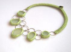 Bib necklace 5 sea glass statement big bold necklace UK beach Wedding collar autumn fall apple green crochet seaglass OOAK handmade gift by astash on Etsy