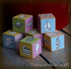 Pohádkové kostky aneb vlastní Příběhy z kostek - Story cubes DIY Story Cubes, Wood Toys, Diy Toys, Container, Log Projects, Autism, Games, Wood, Manualidades