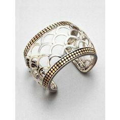John Hardy 18K Yellow Gold & Sterling Silver Scaled Wide Cuff Bracelet