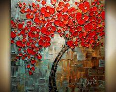 Arte ORIGINAL árbol pintura abstracto blanco por ModernHouseArt