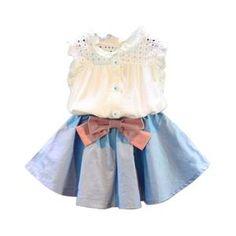 198aacf220fd 2PCS Sleeveless Denim Summer Set. Kids Outfits GirlsToddler Girl ...