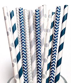 Silver and Navy Paper Straws- 50 DALLAS COWBOYS polka dot Chevron Striped Navy Wedding or Birthday Party, HANUKKAH Holiday Straws
