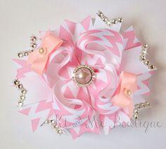 Light Pink Chevron Boutique Bow OTT Pink bow Chevron by KtandMe12 $8.79