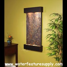 Indoor Water Features Ideas Indoor Water Features: Wall Fountain Decoration for Homes Indoor Water Features. Do you enjoy the cool ambiance and sound of a water fountain just located at the front l… Indoor Waterfall Wall, Indoor Waterfall Fountain, Indoor Wall Fountains, Small Fountains, Indoor Fountain, Water Fountains, Indoor Water Features, Tabletop Fountain, Water Walls