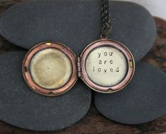 A reminder that you (yes, you) are loved. :: a whispered hand stamped soul mantra locket by liz lamoreux