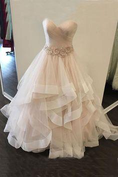 Champagne tulle prom dress, layered prom dress, 3D flower sash evening dress