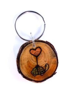 Turtle Keychain Turtle with Heart Balloon Heart by LadyDryad