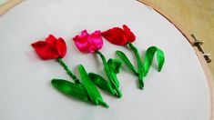 Hand Embroidery: Tulip ribbon embroidery - YouTube