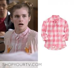 Paige (Jenna Boyd) wears this pink and white buffalo plaid long sleeve  shirt in this episode of Atypical 1a87afa61