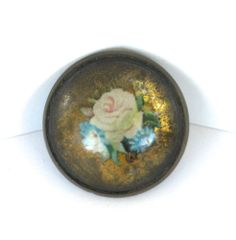 Antique Horse Bridle Rosette Roses Brass Domed Glass Harness Button